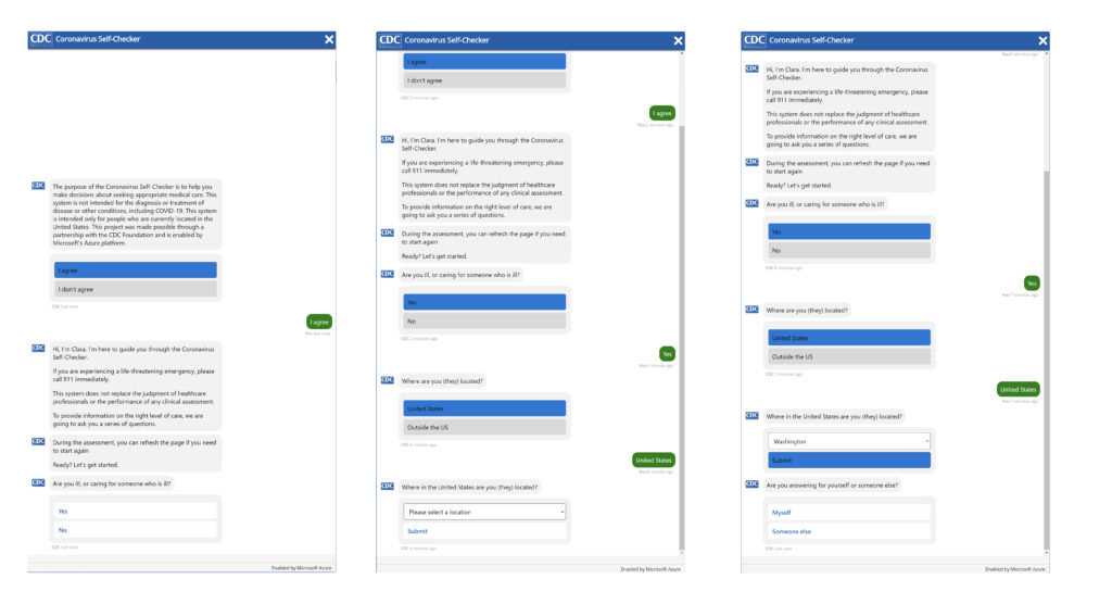 Screenshots from the U.S. Centers for Disease Control and Prevention COVID-19 assessment bot.