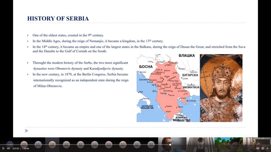 """Međunarodnom otvorenom času geografije na engleskom jeziku. Srbiju je predstavljala Osnovna škola """"Ratko Mitrović"""" iz Beograda."""