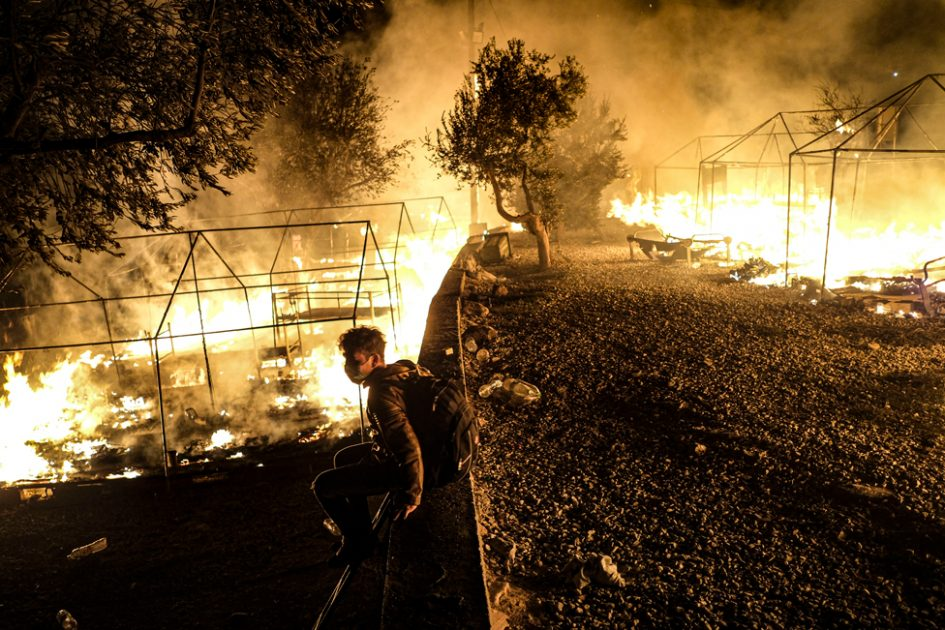 Fires rage at the Moria migrant camp on 9 September 2020, in Lesbos, Greece