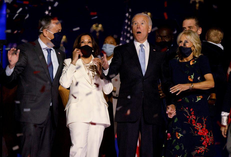 US presidential nominee Joe Biden and his wife Jill, and vice presidential nominee Kamala Harris and her husband Doug, in Wilmington, Delaware, 7 November 2020