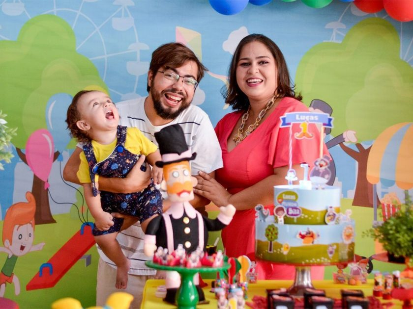 Lucas with his parents on his first birthday